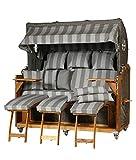 WODEGA Kampen Business - Sillón de playa de teca de 3 plazas, 170 cm, tamaño XXXL, diseño de rayas, color marrón