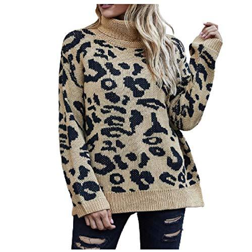 TICOOK Damen Rollkragenpullover Sweater Langarm Leopardenmuster Strickpullover Lose Sweatshirt Oberteile