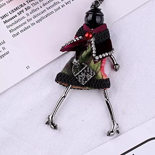 Chenfeng Collares Mujer Joyas Collar de muñeca de Cuero y declaración, Vestido Hecho a Mano, Colgante de muñeca, aleación, niña, Mujer, Flor, joyería de Moda Regalo