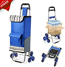 2020 Upgraded Folding Shopping Cart Stair Climbing Cart with Quiet Rubber Tri-Wheels Grocery Utility Cart with Wheel Bearings & Platform for Laundry Basket Loading