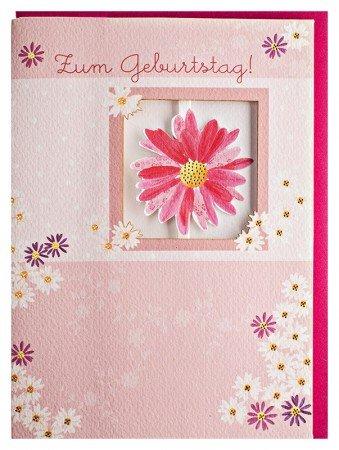 Geburtstagskarte Rosa Margerite mit Zickzackfalz