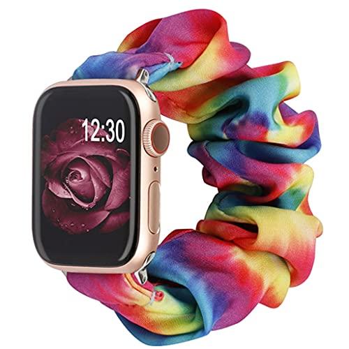 Scrunchie Watch Band, para Apple Watch, 38 mm 40 mm 42mm 44mm Solo Bucle  Correa de Reloj de reemplazo elástico, para iWatch Series 6 5 4 3 2 1 Pulseras de Tela Suave para Mujer niña