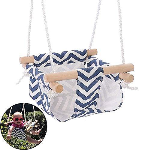 Schommelset Hangende babyschommelstoel met touwhangmat Kinderveilige canvas schommelstoel voor binnen of buiten Eenvoudig te installeren en op te bergen