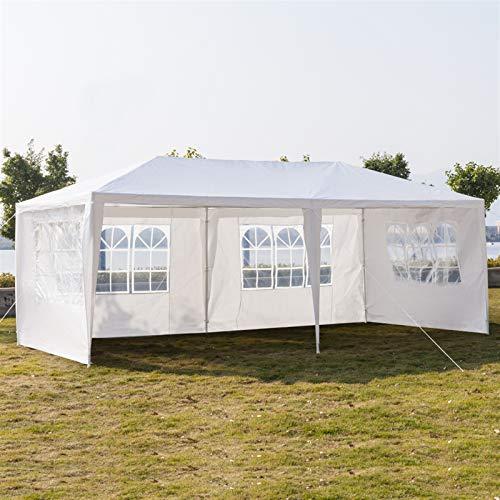 Wyi Carpa blanca para exteriores con 4 paredes extraíbles de 20 x 8 pies, tienda de campaña impermeable con tubos espirales, refugio rectangular para jardín, césped, barbacoa, camping