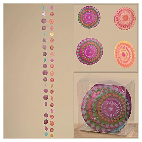 Capiz Muschel Girlande Mobile Windspiel Muschelgirlande orange pink grün Stern Blüte 2er Set