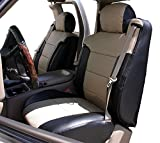 Iggee 2003-2006 Chevy Silverado Black/Beige Artificial Leather Custom Made Original fit Front Seat Covers & 2 Armrest Covers