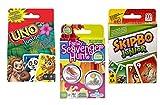 Family Scavenger Hunt, Uno Junior, and Skip Bo Junior Card Game Bundle for Kids