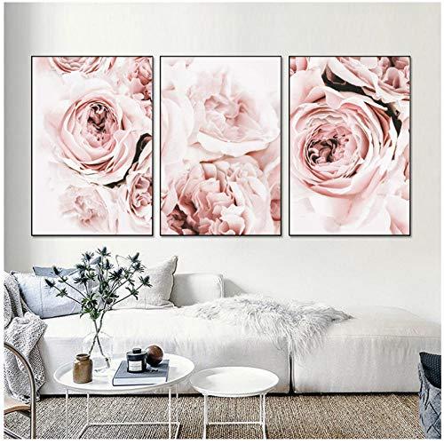 wymhzp Leinwanddrucke Rosa Pfingstrose Blumenwandkunst Leinwandmalerei Plakate und Drucke Wandbilder für Wohnzimmer Wohnkultur Dekor Kein Rahmen-3pcs_50x70cm