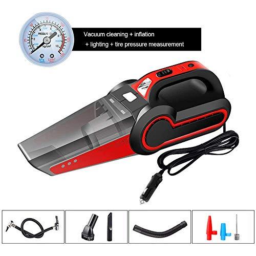 Dmqpp Draagbare stofzuiger, 120 W High Power met LED-licht, auto-luchtpomp Low Noise autostofzuiger, geschikt voor kofferbak zitkussen, rood