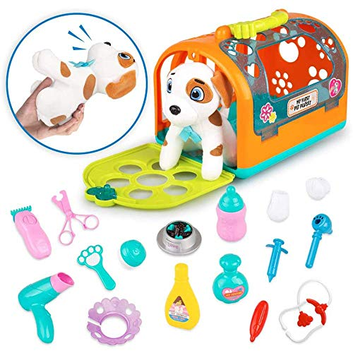 kidpal Pet Care Play Set, Vet Clinic and Cage Doctor Kit for Kids, 16PCS Pet Veterinarian Playset for Ages 2 3 4 Toddlers, Great Gift Vet Play Set for 2 3 4 Years Yr Old 24M+ Boys and Girls