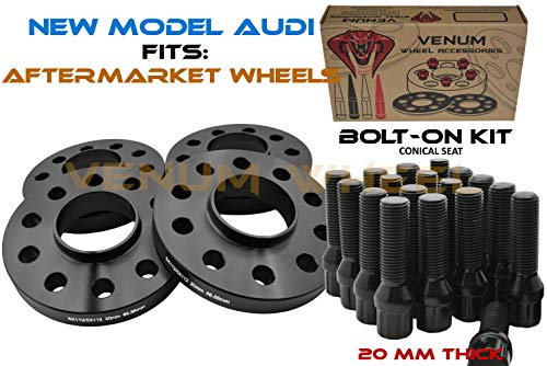 4 Pc 5x112 MM Black Hub Centric 20 MM Wheel Spacers 66.6 Wheel Bore + Black M14x1.5 Conical Spline Tuner Bolts Aftermarket Wheels Works with Audi 2009 + A4 A5 A6 A7 A8 S4 S5 S6 S7 + More