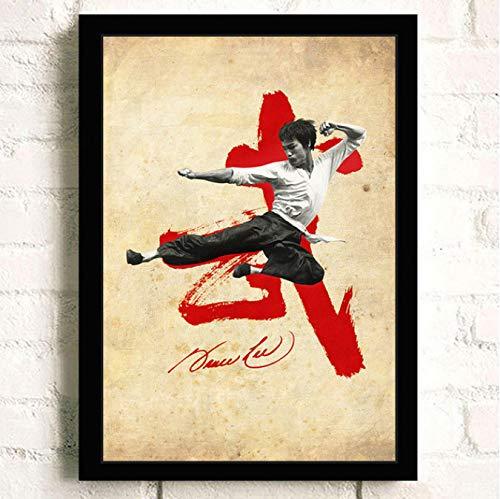 N/L Leinwandmalerei Retro Poster Bruce Lee Filmplakat Bar Cafe Poster Und Drucke Wandbild No Frame 50 * 70Cm