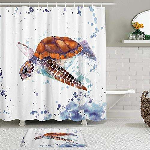 AXEDENRRT Fabric Shower Curtain and Mats Set,Sea Animal Lover Watercolor Brick Turtle Fantastic,Water Repellent Bath Curtains with 12 Hooks,Non Slip Rugs
