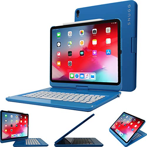Snugg iPad Pro 12.9 2018 (3rd Gen) Keyboard, [Blue] Backlit Wireless Bluetooth Keyboard Case Cover 360° Degree Rotatable Keyboard for Apple iPad Pro 12.9 2018 (Apple Pencil Compatible)