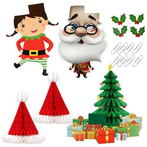 NUOBESTY Decoração de Favo de Mel de Natal Conjunto 3D Papai Noel Árvore Papel Favo de Mel Natal Teto de Parede Pendurado para Lembrancinhas de Festa de Natal