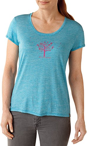 Smartwool t-Shirt à Manches Courtes pour Femme Scoop Tree t-Shirt Graphic Tee-Tencel: Bleu Turquoise S