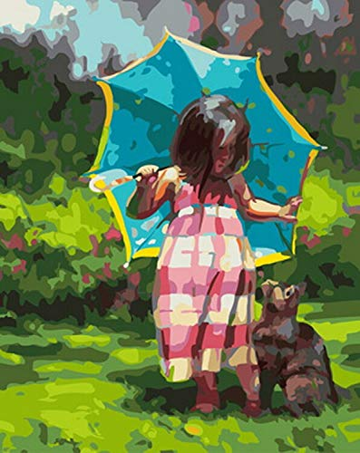 AGjDF DIY Mädchen mit Regenschirm Erwachsene Malen Nach Nummer Malen Nach Zahlen Kits Leinwand Landschaft Ölgemälde Set Rahmenlos 40x50cm