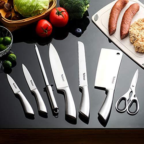 Velaze Set Coltelli, Coltelli Cucina Set 8 Pezzi, Ceppo Coltelli, Set di Coltelli Professionali Chef in Acciaio Inossidabile con Blocco Coltelli Girevole - Lucidatura