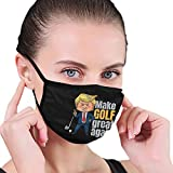 Golfing Pro Trump - Make Golf Great Again Gift Unisex Face Cover Cover Muffle Anti Dust Mouth Washable and Reusable Face Ma_Sk Black