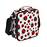 Insulated Lunch Bag Cute Cartoon Ladybug Lunch Box Containers Tote with Shoulder Strap for Women Men Boys Girls ,Durable Reusable Waterproof for Work School Thermal Cooler Bag