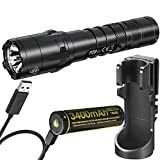 Nitecore P20 V2 1100 Lumen Tactical Flashlight with Hard Case Holster, 3400mAh USB Rechargeable Battery and LumenTac Charging Cable