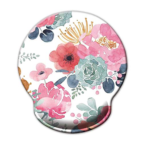Ergonomic Mouse Pad with Wrist Support,Dooke Cute Wrist Pad with Non-Slip Rubber Base for Computer, Laptop, Home Office Gaming, Working, Easy Typing & Pain Relief,Pink Green Flower