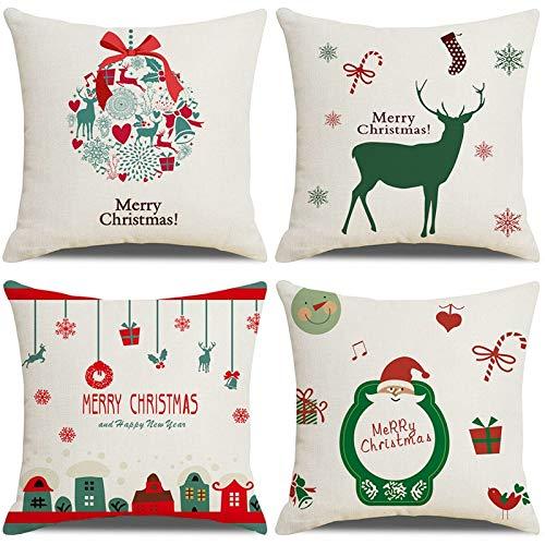 LAXEUYO Natale Set di 4 Federe Cuscini 45x45 cm, Serie di Cartoni Animati di Natale Pattern Cotone Biancheria Decorativo Gettare Caso Federa Cuscino Divano Auto Home Decor