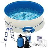 Juego de piscina confort Ø 4,50 x 1,20 m, acero de 0,6 mm, lámina de 0,6 mm con ribete en cuña