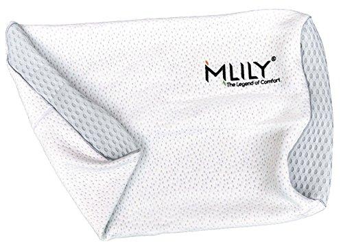 Mlily Ersatz-Kissenbezug für Orthopädisches Nackenstützkissen Von Ebitop-Kissen Aus Viscoelastischem Gelschaum (Memory Foam) In Weiß, Einstellbare, 60x35x13cm