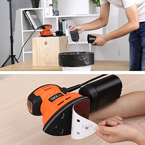 Sander, Tacklife 12Pcs Sandpapers, Sanding Pad(140X140X90mm)12000 RPM Sanders with Dust Collection System for Tight Spaces Sanding in Home Decoration, Electric Sander for Furniture Finishing-PMS01A