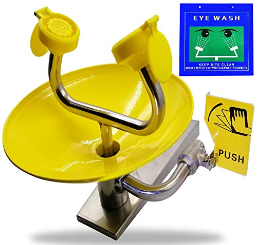 Eyewash Stations with Free Eye Wash Sign - Wall Mounted Stainless Steel Eye Wash Station with Dual Spray Heads – Emergency Eyewash Stations – Hands Free Operation - First Aid for Eyes - Yellow