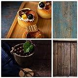 Selens 2 en 1 Flat Lay Fondo 60 x 90 cm Azul Tabla de madera Fondo para fotografía de alimentos Cosméticos Tablero de Fondo de doble cara para Gourmet Cosmética Productos fotografía Póster