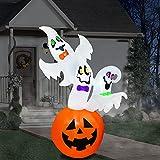 PARAYOYO fantasmas de calabaza inflables de Halloween de 180 cm, decoraciones de patio con luces LED para fiestas, césped, jardín, interior y exterior