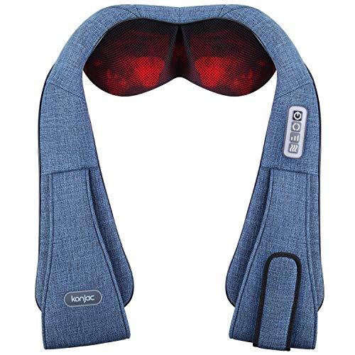 Masajeador de cuello, Konjac Masajeador para espalda y hombros Masaje Shiatsu cervical con calor de masaje profundo para relajar dolor de espalda y los músculos, libera las manos, uso en el hogar, oficina y coche