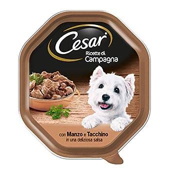 Cesar Recettes di Campagne Nourriture pour Chien avec Din, Bœud et Herbe 150 g - 14 bacs