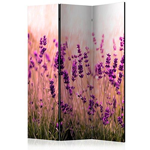 murando Raumteiler Lavendel Natur Wiese Foto Paravent 135x172 cm einseitig auf Vlies-Leinwand Bedruckt Trennwand Spanische Wand Sichtschutz Raumtrenner violett b-B-0111-z-b