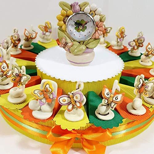 bomboniera con Note Musicali Portafortuna con Farfalle Colorate, Torta bomboniera con Confetti + 20 Note + Orologio Centrale