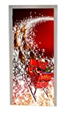 A.Monamour 3D Door Stickers for Interior Doors Christmas Holiday Santa Clauds Riding The Sleigh Reindeer Pulling The Sleigh Vinyl Door Decals Door Murals Removable Posters Decors for Bedroom Bathroom