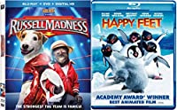 Happy Feet (Blu-ray) + Russell Madness Blu Ray DVD Family Animal Fun Movies DVD Kids animated Penguins