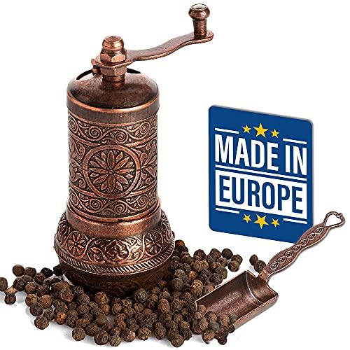 Molinillo de Pimienta Negro Decorativo, Molinillo de Especias de Metal Con Manivela, Juego de Molinillo de Cobre Sal y Pimienta, Molinillo de Pimienta Turco