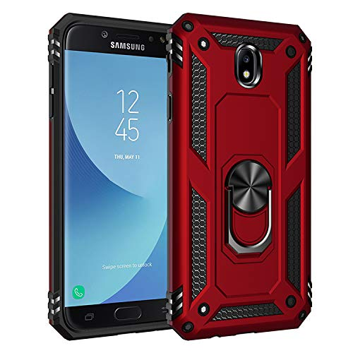 BestST Funda Samsung Galaxy J7 2017/J730 con Anillo Soporte,+ HD Protectores de Pantalla,2in1 Dura PC + Suave TPU Silicona Carcasa Híbrido Armadura Bumper Case Cover para Samsung Galaxy J7 2017/J730