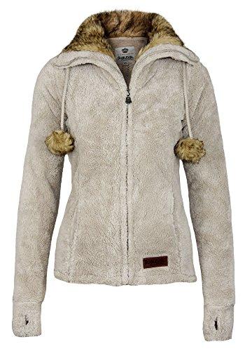 Sublevel Damen Teddy Fleecejacke mit Fell Kragen und Bommeln   Warme Flauschjacke mit weitem Kragen, Größe:XS, Farbe:Light Beige