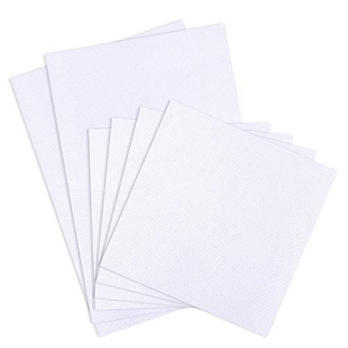 Pllieay 6 Piezas Tela Punto Cruz, Tela de Punto de Cruz Blanco, Tela Classic Reserve Aida, 14 Hilos, incluye 2 piezas de 30 x 45 cm y 4 piezas de 30 x 30 cm, para bordado