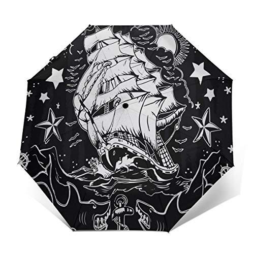Premium Umbrella Windproof - Compact Umbrella Automatic - Travel Umbrella Folding - Portable Umbrella Auto - Mens Travel Umbrella - Nautical Ship Anchor Sharks Starfish Black