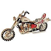 立体パズル - レーザーカットの3D木製パズルおもちゃの車ハーレーオートバイDIY組立キット子供の教育木製玩具ボーイデコレーション