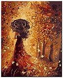 SHYJBH Cuadros de Lienzo Retrato de la niña con Paraguas Cuadros de Lienzo en la Pared Carteles e Impresiones Bailarines Abstractos Decorativos 50x70cm sin Marco