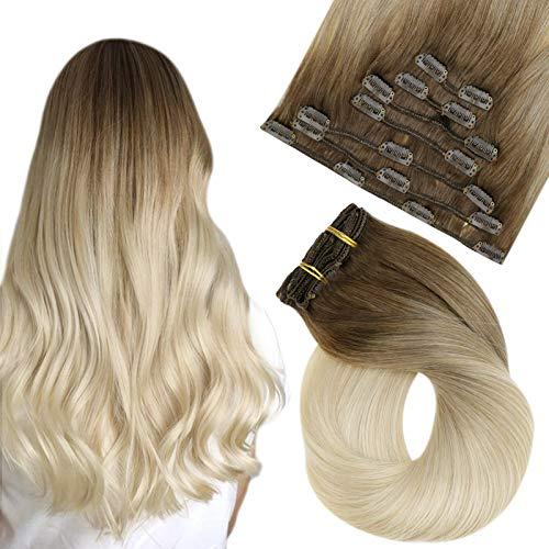 Easyouth Extension a Clip Cheveux Naturel épaisse Pleine tête pour Fille Couleur Mix avec Yellow Blonde Straight Remy Hair Cheveux Humains Clip in Hai