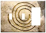 3-Gang 2-Toggle 1-Rocker/GFCI Combination Wall Plate Cover - Symbol Spiral Cosmos Rock Stone Sand Stone Golden