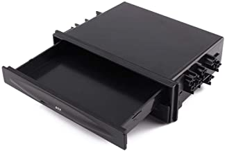 Car Single Din Storage Box, Universal Black CD Radio Drink Cup Holder Storage Box Single Din Radio Holder