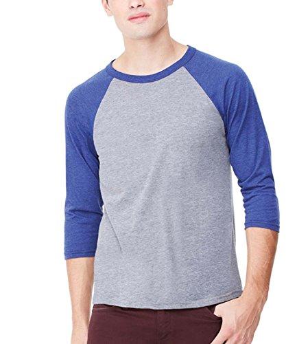 Bella+Canvas Triblend 3/4 Sleeve Baseball T-Shirt - Grey/Navy Tri-Blend - XL